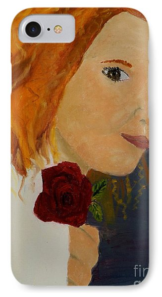 Sweet Lady Holding A Rose Phone Case by Pamela  Meredith