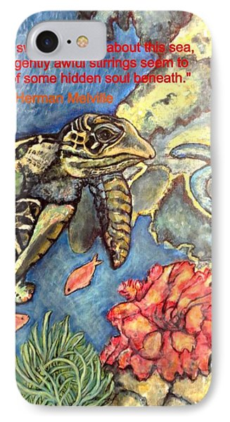 IPhone Case featuring the painting Sweet Mystery Of This Sea A Hawksbill Sea Turtle Coasting In The Coral Reefs by Kimberlee Baxter