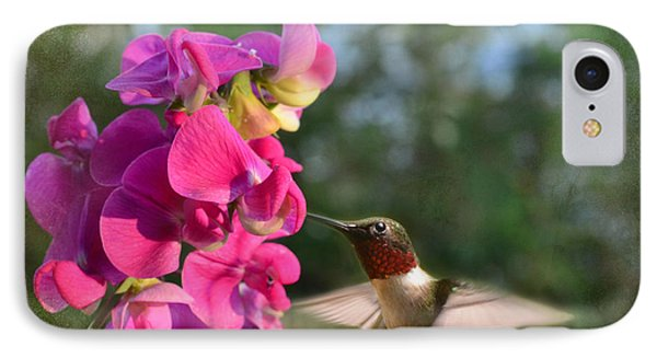 Sweet Pea Hummingbird Phone Case by Debbie Portwood