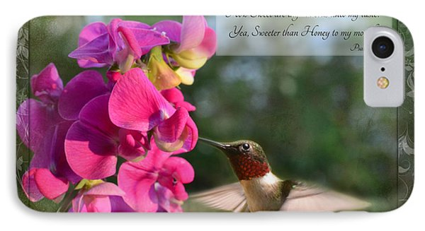 Sweet Pea Hummingbird Iv With Verse Phone Case by Debbie Portwood