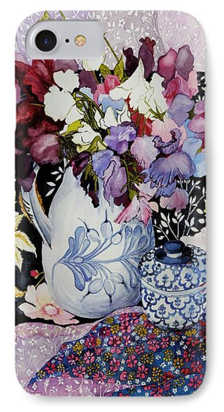 Sweet Peas In A Blue And White Jug With Blue And White Pot And Textiles  Phone Case by Joan Thewsey