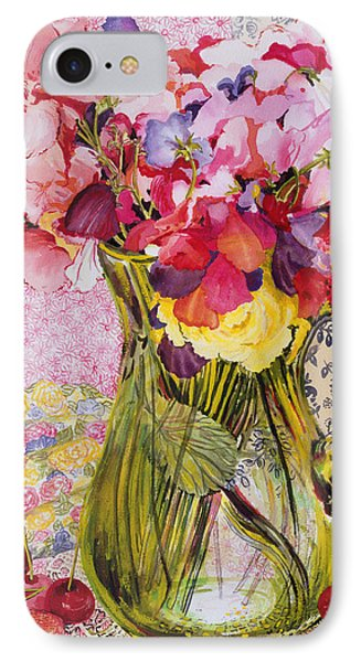 Sweet Peas With Cherries And Strawberries Phone Case by Joan Thewsey