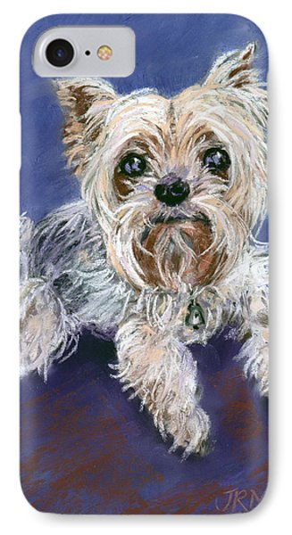 IPhone Case featuring the pastel Sweet Yorkie by Julie Maas