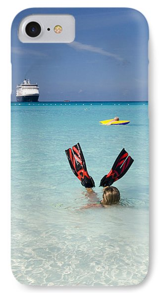 Swimming At A Caribbean Beach IPhone Case by David Smith