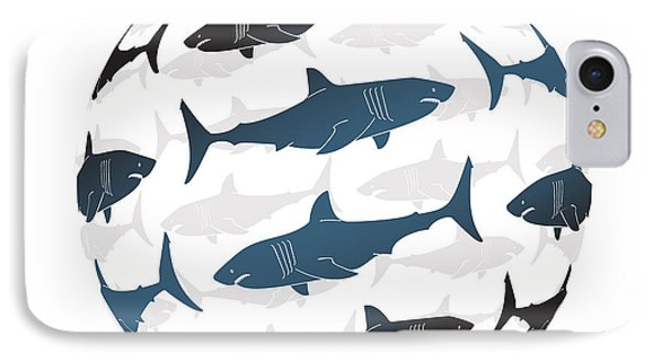 Swimming Blue Sharks Around The Globe IPhone Case by Amy Kirkpatrick