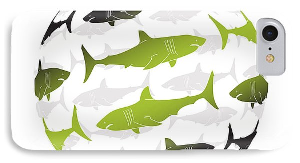 Swimming Green Sharks Around The Globe IPhone Case