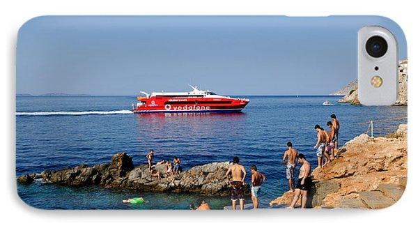 Swimming In Hydra Island Phone Case by George Atsametakis