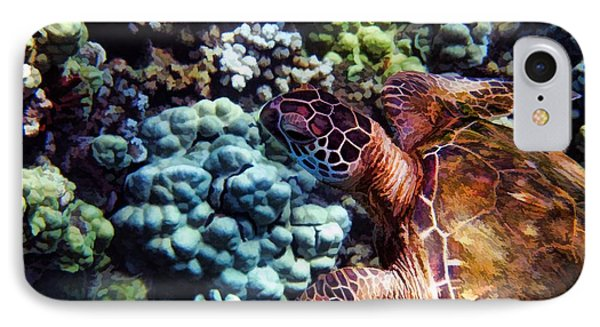 Swimming With A Sea Turtle Phone Case by Peggy Hughes