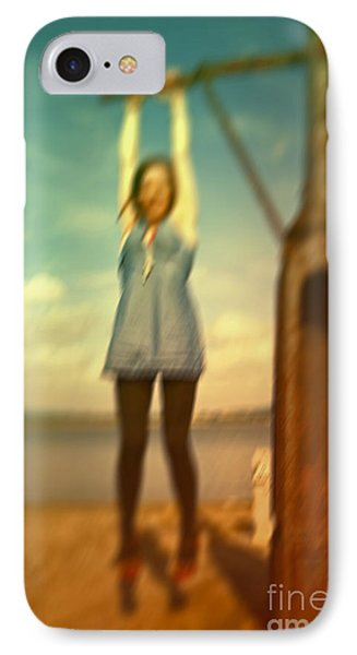 IPhone Case featuring the photograph Swinging From Lampost  by Craig B