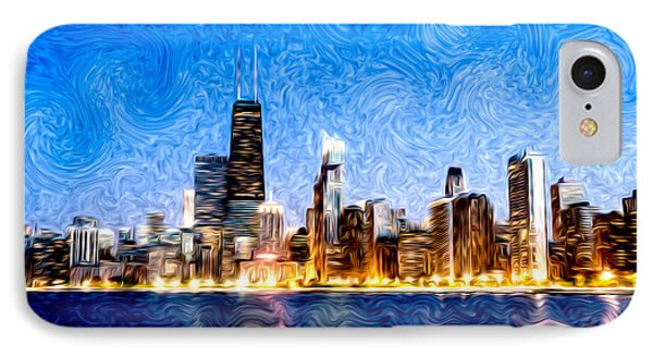 Swirly Chicago At Night IPhone Case by Paul Velgos