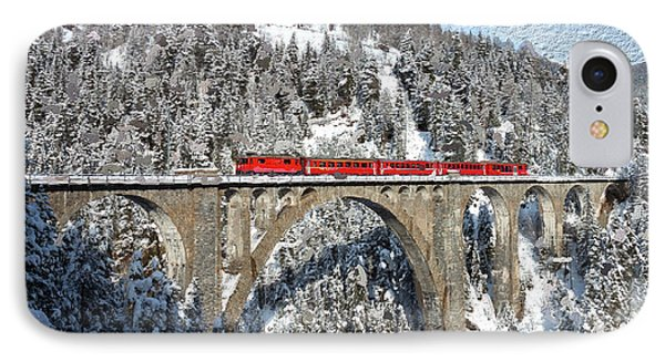 Swiss Bridge - Snow Painting Phone Case by Mike Rampino