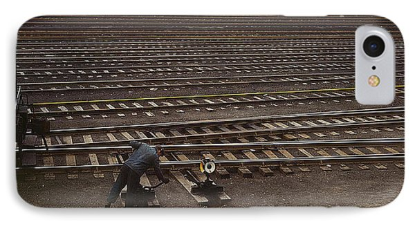 IPhone Case featuring the photograph Switching The Rails Proviso R R Yard Chicago Il 1943 by Merton Allen