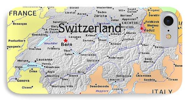 Switzerland Exotic Map Phone Case by Florene Welebny