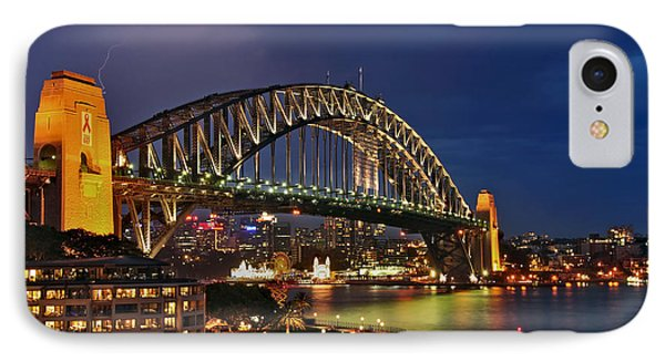 Sydney Harbour Bridge By Night Phone Case by Kaye Menner