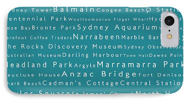 Sydney In Words Teal IPhone Case by Sabine Jacobs