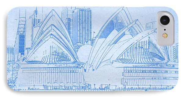 Sydney Opera House - Blueprint Drawing IPhone Case by MotionAge Designs