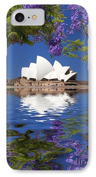 Sydney Opera House With Jacaranda Reflection IPhone Case by Avalon Fine Art Photography