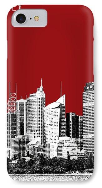 Sydney Skyline 1 - Dark Red IPhone 7 Case by DB Artist