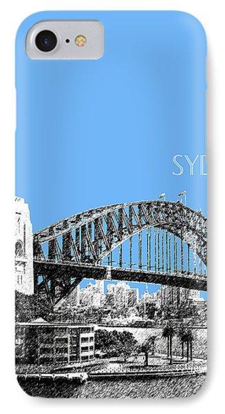 Sydney Skyline 2 Harbor Bridge - Light Blue IPhone Case by DB Artist