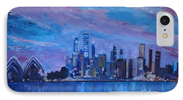 Sydney Skyline With Opera House At Dusk Phone Case by M Bleichner