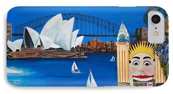 Sydneyscape - Featuring Luna Park  Phone Case by Lyndsey Hatchwell