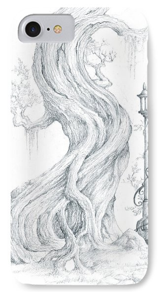 IPhone Case featuring the drawing Sylvia And Her Lamp Drawing by Curtiss Shaffer