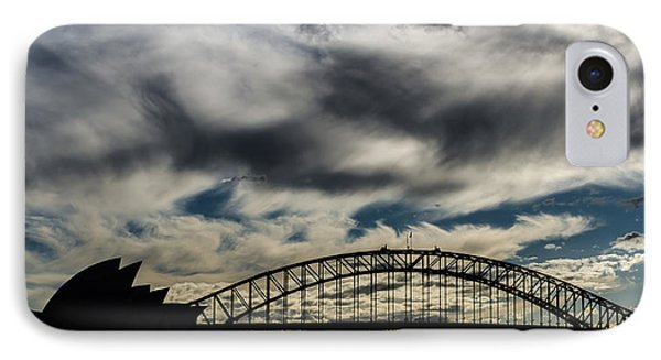 Syndey Bridge And Opera Silhouette IPhone Case by Andre Distel