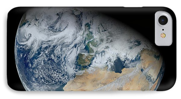 Synthesized View Of Earth Showing North Phone Case by Stocktrek Images