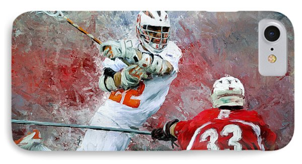 College Lacrosse 5 IPhone Case by Scott Melby