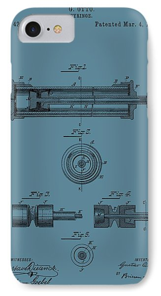 Syringe Patent Drawing Blue IPhone Case by Dan Sproul