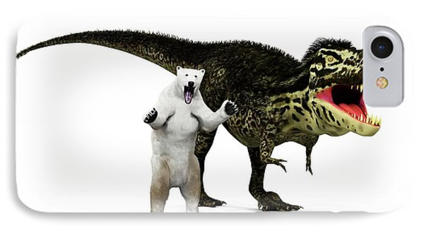 T-rex Dinosaur And Polar Bear IPhone Case by Walter Myers