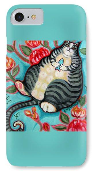 Tabby Cat On A Cushion IPhone Case by Rebecca Korpita