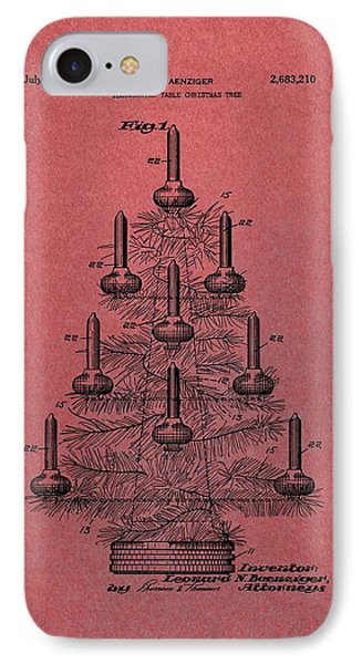 Table Christmas Tree Patent Red IPhone Case by Dan Sproul