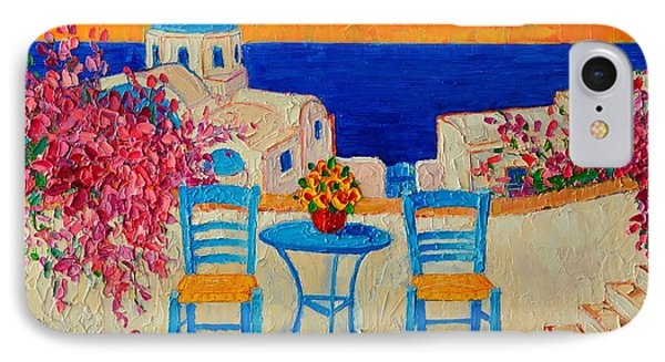 Table For Two In Santorini Greece IPhone Case by Ana Maria Edulescu