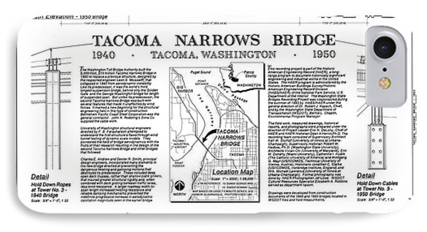 Tacoma Narrows Bridge Habs P1 Phone Case by Photo Researchers