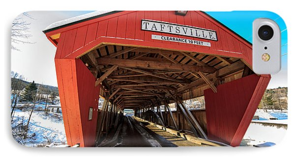 Taftsville Covered Bridge In Vermont In Winter IPhone Case by Edward Fielding