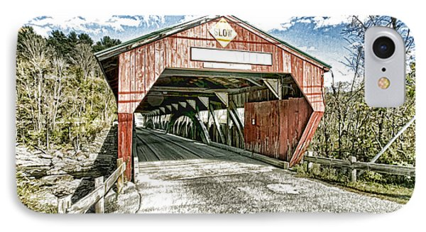 Taftsville Vermont Covered Bridge Photo Art IPhone Case by Constantine Gregory