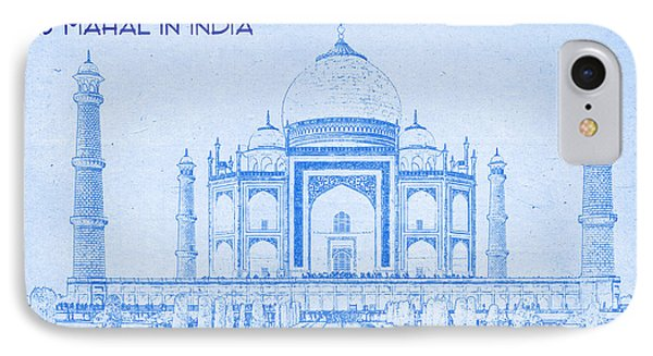 Taj Mahal In India - Blueprint Drawing IPhone Case by MotionAge Designs