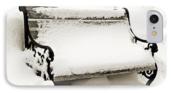Take A Seat  And Chill Out - Park Bench - Winter - Snow Storm Bw 2 Phone Case by Andee Design