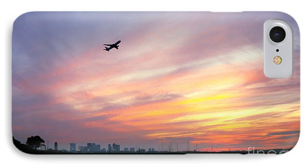 Take Off At Sunset In 1984 Phone Case by Michelle Wiarda