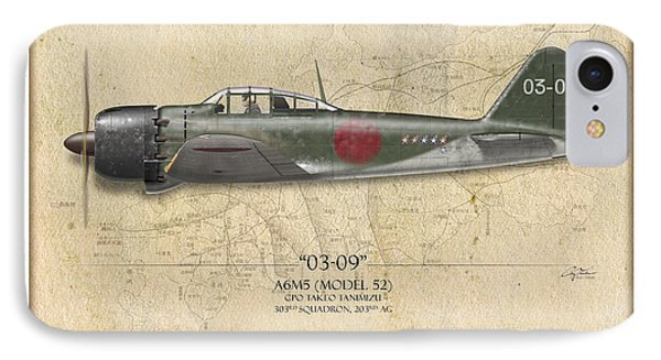 Takeo Tanimizu A6m Zero - Map Background IPhone Case by Craig Tinder