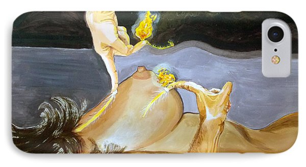 IPhone Case featuring the painting Takeoff The Touch Despegue Del Tacto by Lazaro Hurtado