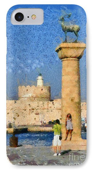 Taking Pictures At The Entrance Of Mandraki Port Phone Case by George Atsametakis