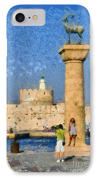 Taking Pictures At The Entrance Of Mandraki Port IPhone Case by George Atsametakis