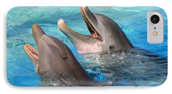 IPhone Case featuring the photograph Talking Dolphins by Kristine Merc
