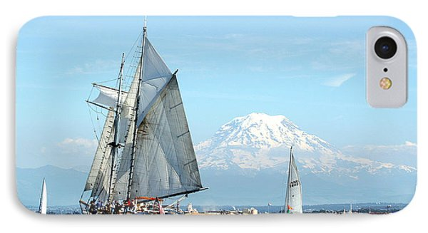 Tall Ship And Mount Rainier IPhone Case by John Bushnell