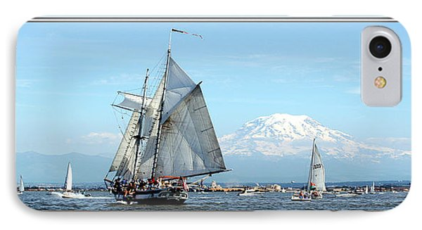 Tall Ship And Mt. Rainier IPhone Case by John Bushnell