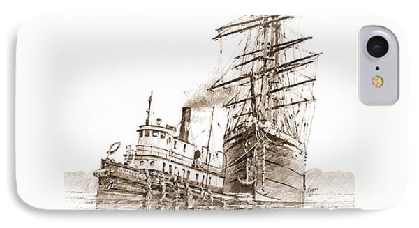 Tall Ship Assist Sepia IPhone Case by James Williamson