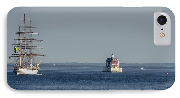Tall Ship Cisne Branco Passes Ledge Light IPhone Case by Marianne Campolongo