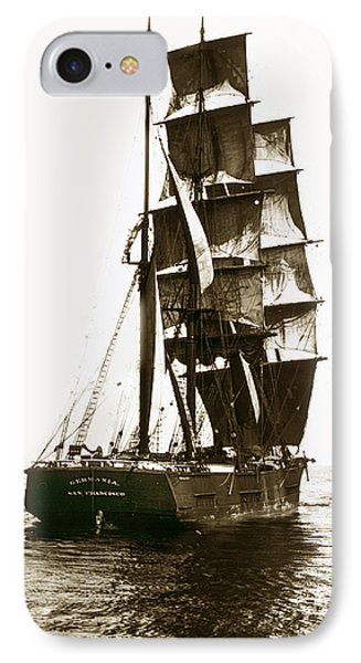 IPhone Case featuring the photograph Tall Ship Germania Out Of San Francisco California  Circa 1900 by California Views Mr Pat Hathaway Archives